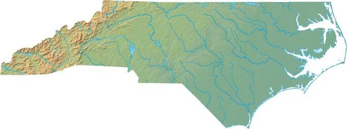 North Carolina relief map